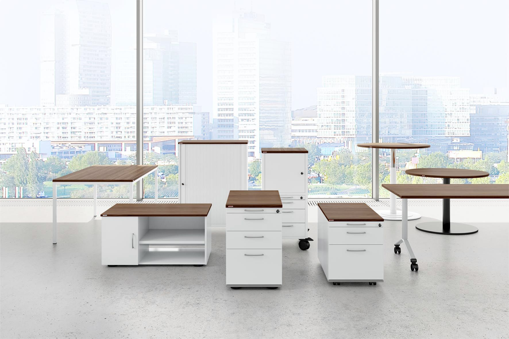 Wooden office unit / melamine / 3-drawer / 4-drawer - PONTIS ...