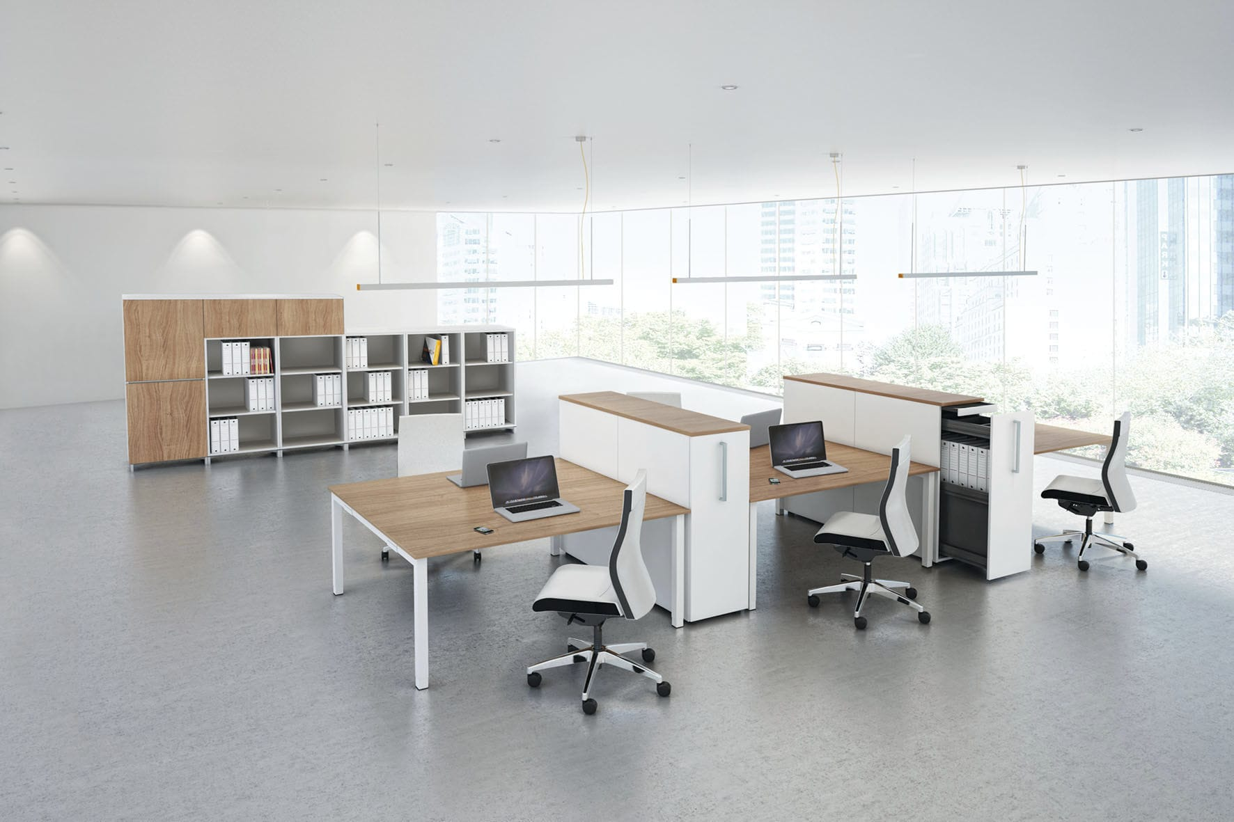 Wooden office unit / melamine / 3-drawer / 4-drawer - PONTIS ...