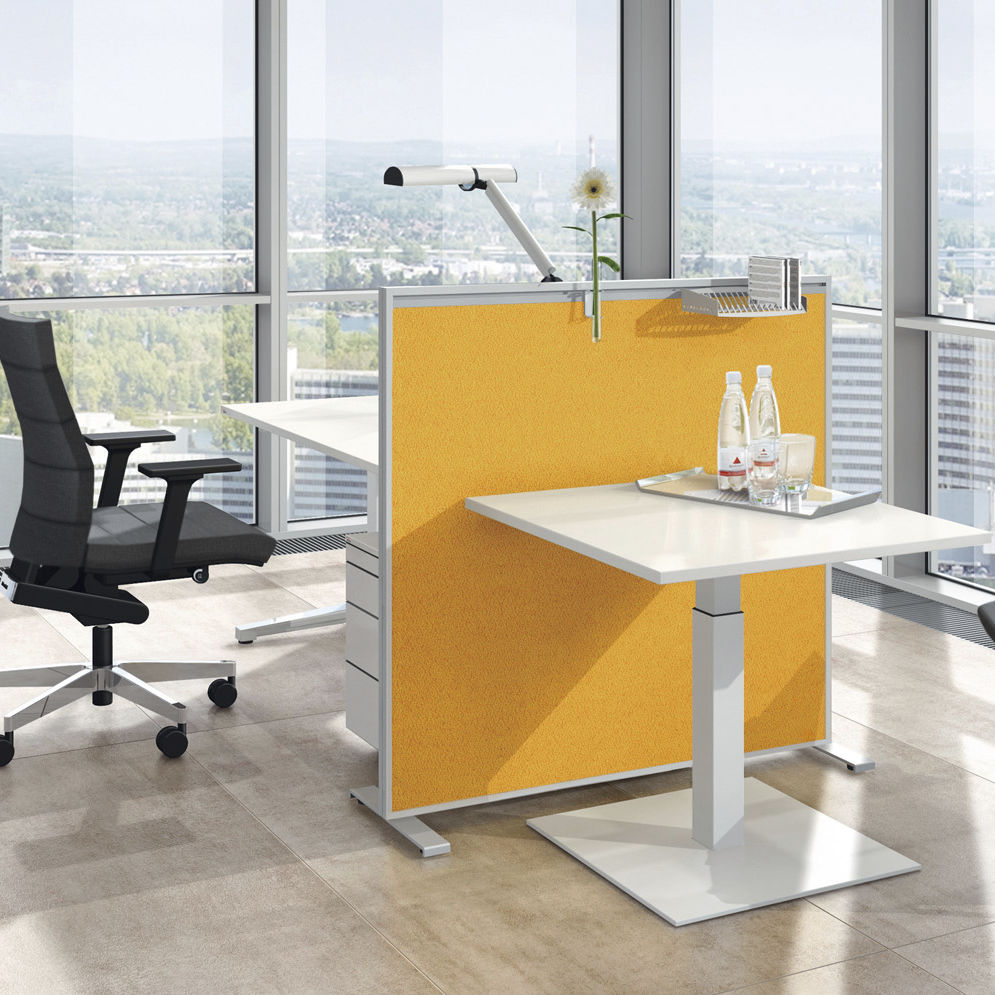 Floor-mounted office divider / countertop / fabric / wooden ...