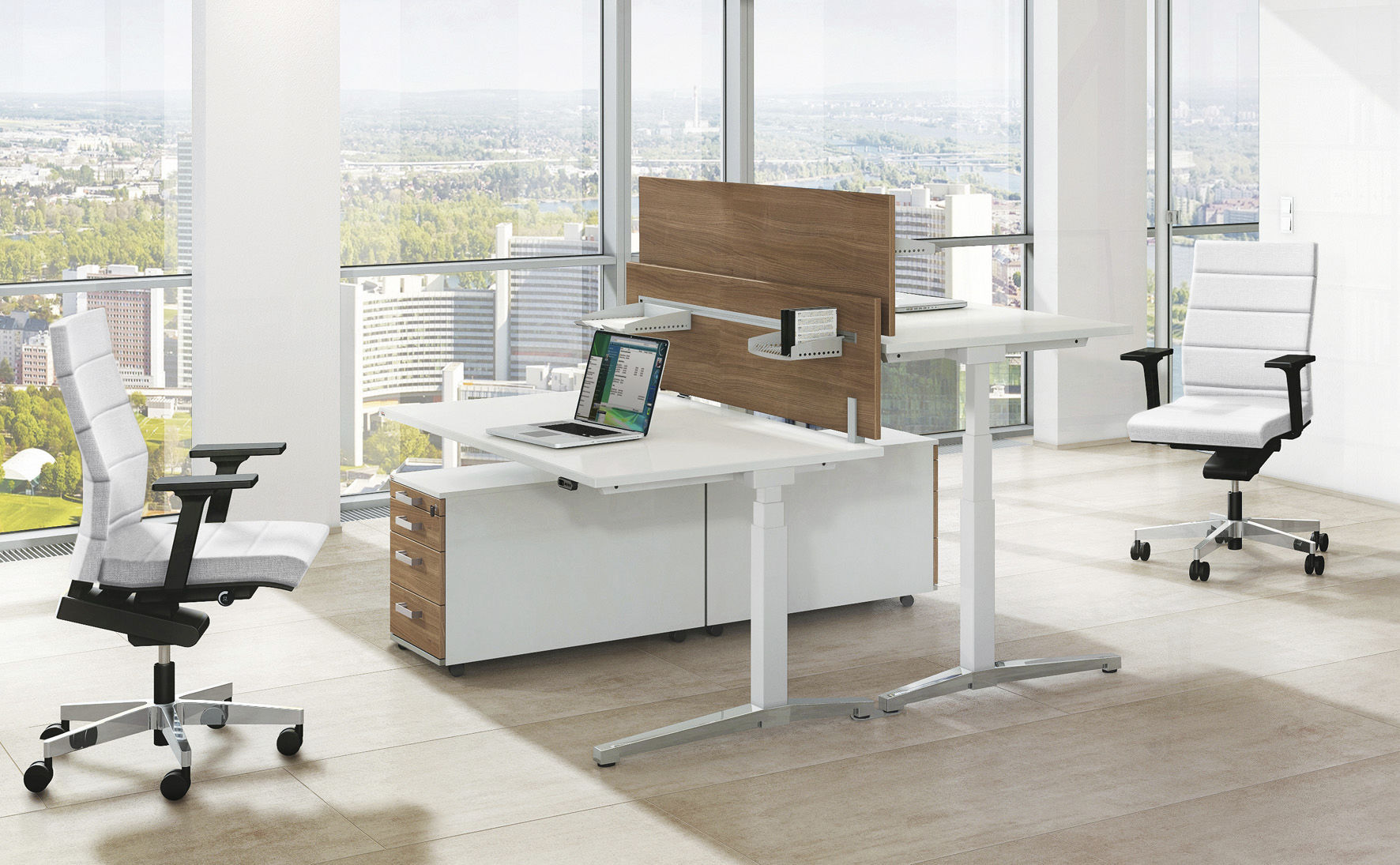 Büromöbel design  Floor-mounted office divider / countertop / fabric / wooden ...