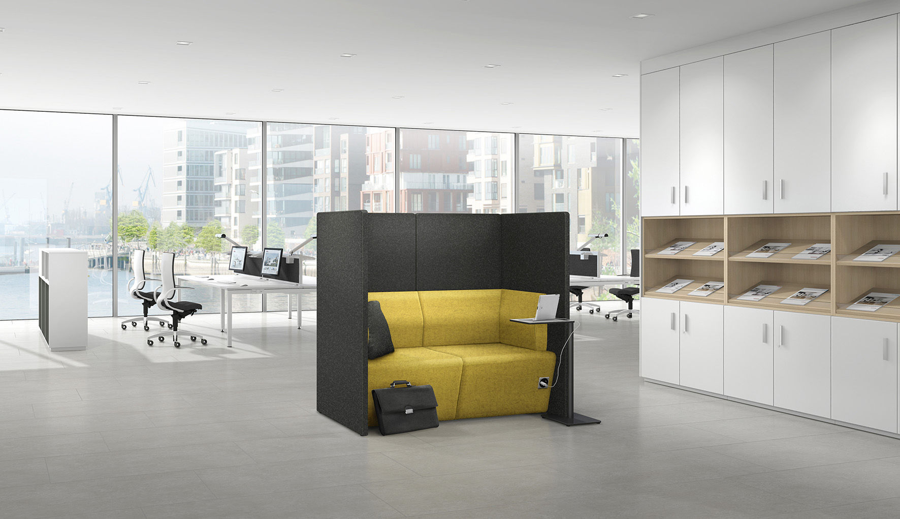 Privacy sofa / modular / contemporary / fabric - SYNEO - ASSMANN ...