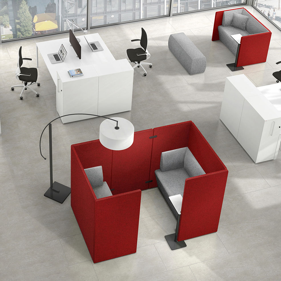 Privacy sofa / modular / contemporary / fabric - SYNEO - ASSMANN ...