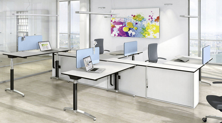 Floor-mounted office divider / countertop / fabric / wooden - VITECO ...