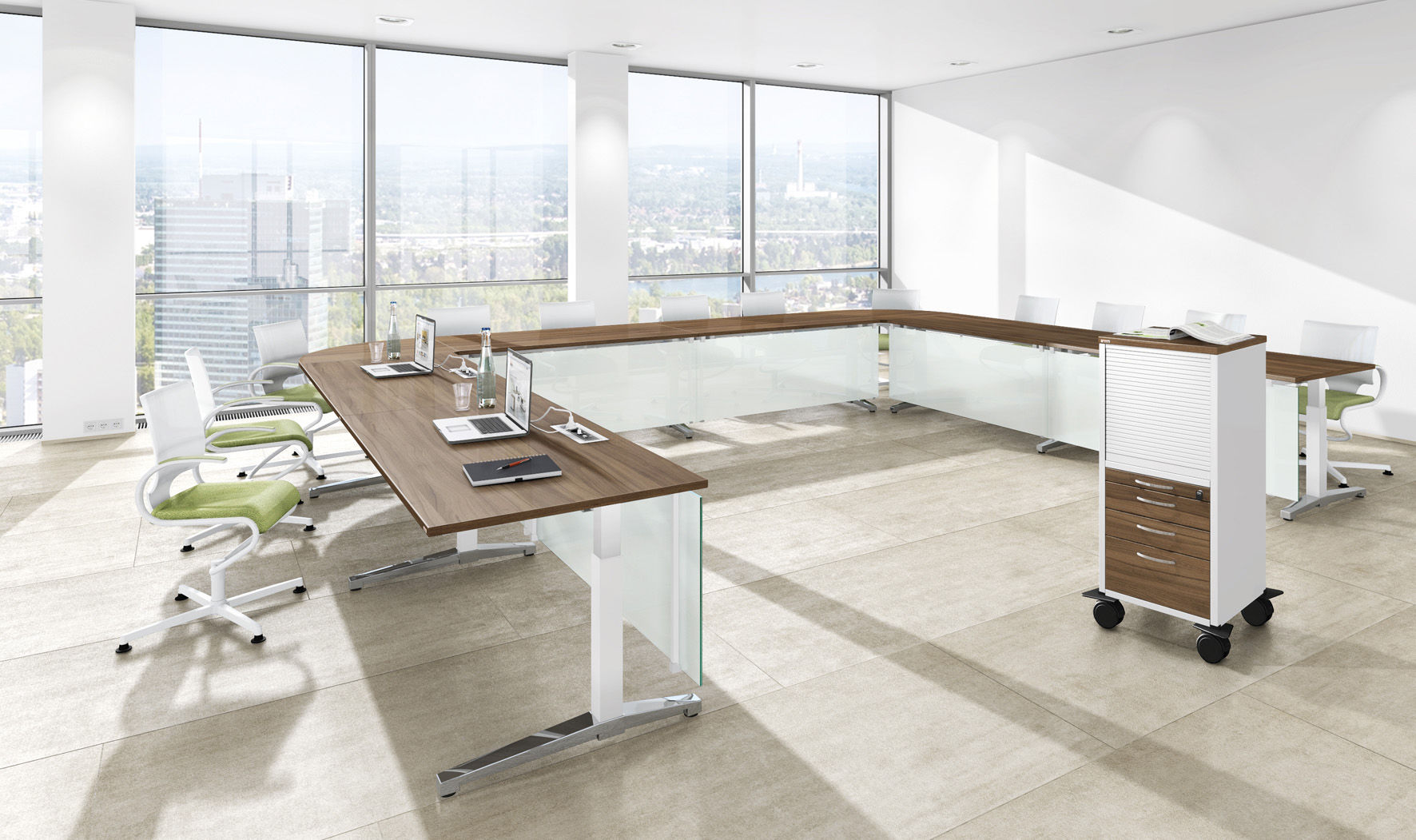 Contemporary boardroom table / wooden / metal / melamine - CANVARO ...