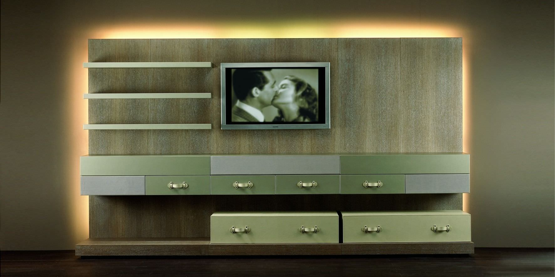 Wooden Wall Unit Contemporary Tv Wall Unit  Wooden  Lacquered Wood  Hc62