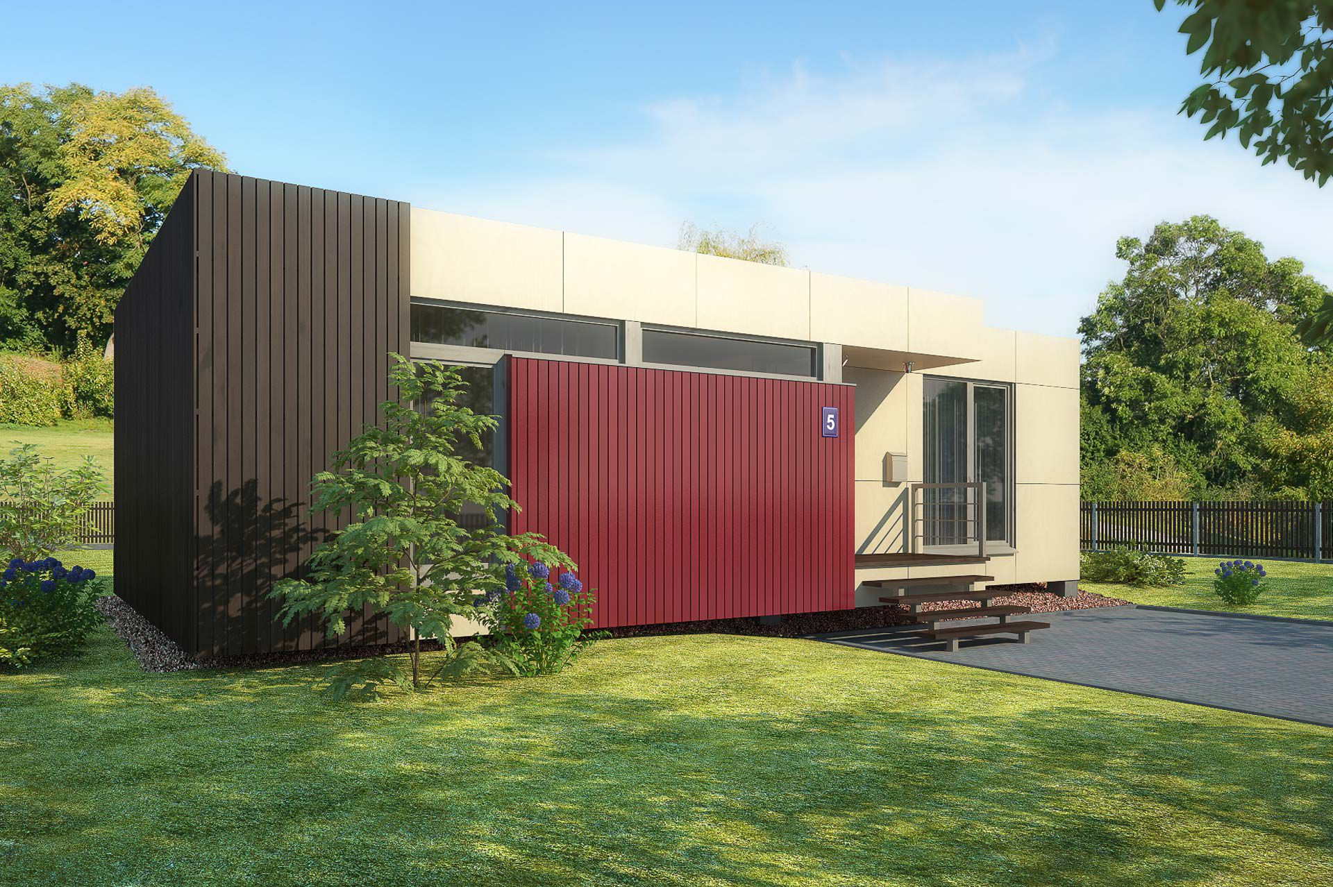 prefab house contemporary wooden single story in4 design