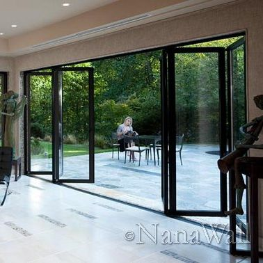 Sliding and stacking patio door / aluminum / double-glazed / thermal ...