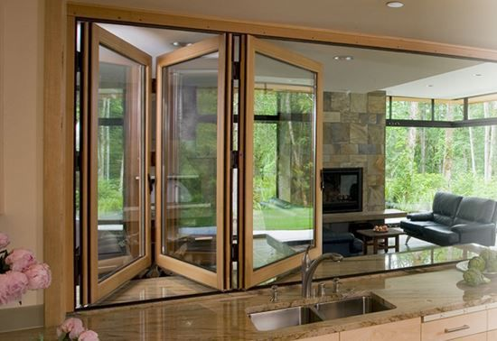 Sliding and stacking patio door / folding / wooden / double-glazed ...