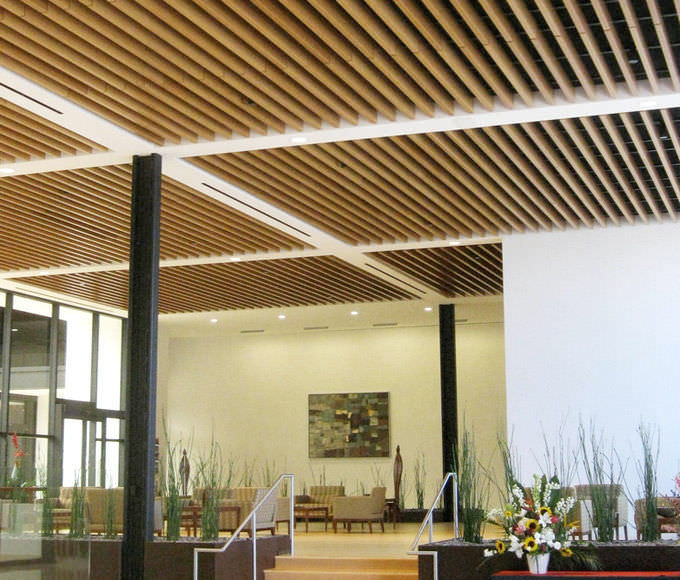 Wooden suspended ceiling / aluminum / composite / strip   barz ...