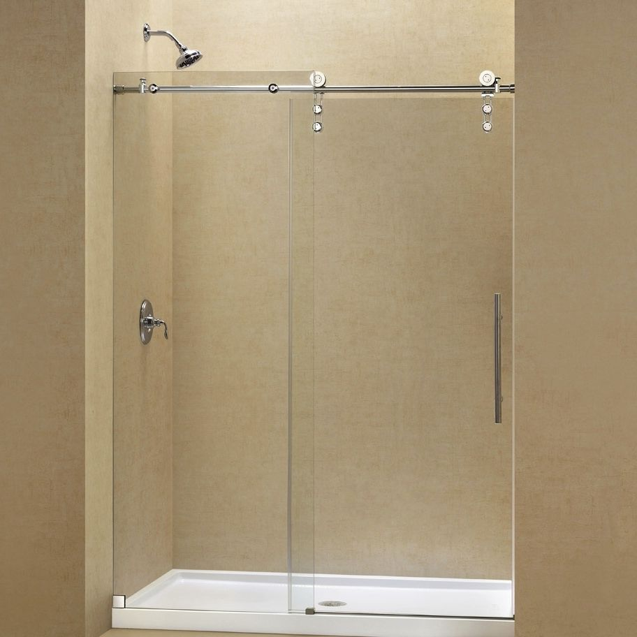 Tempered Glass Shower For Alcoves With Sliding Door Kit