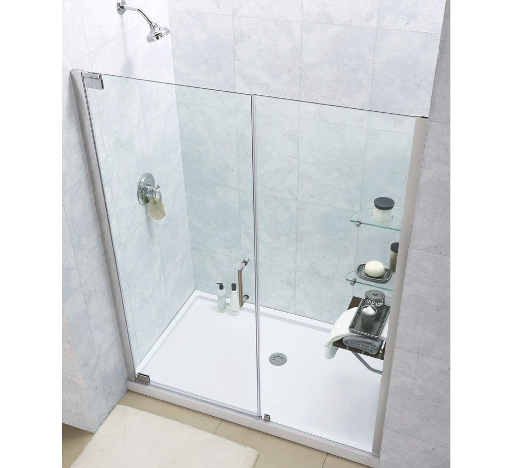 Tempered glass shower / kit / for alcoves / with pivot door ...