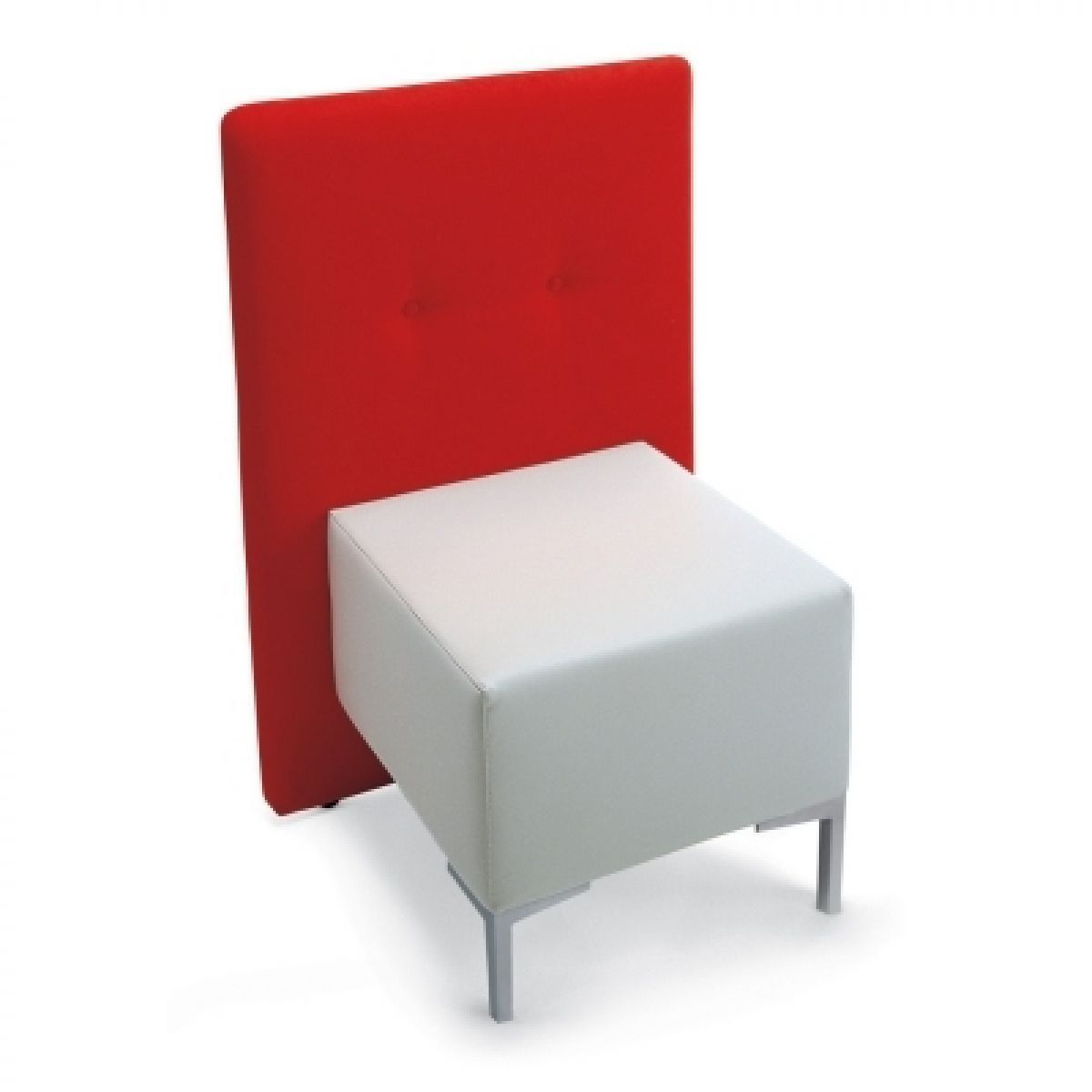 Contemporary fireside chair / fabric / white / red