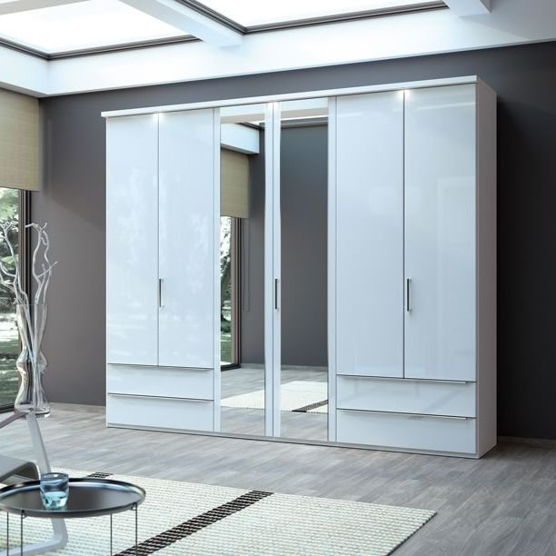 Contemporary wardrobe / wooden / with hinged door / mirrored - CD ...