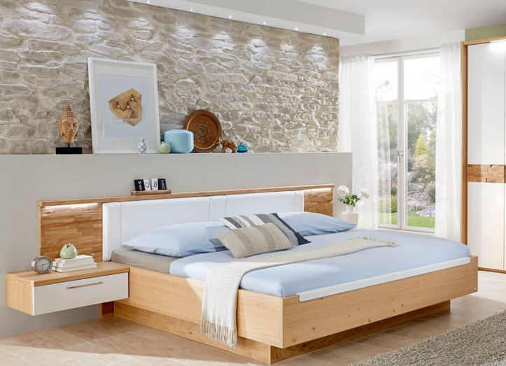 Double Bed Contemporary With Upholstered Headboard With - Table de lit design