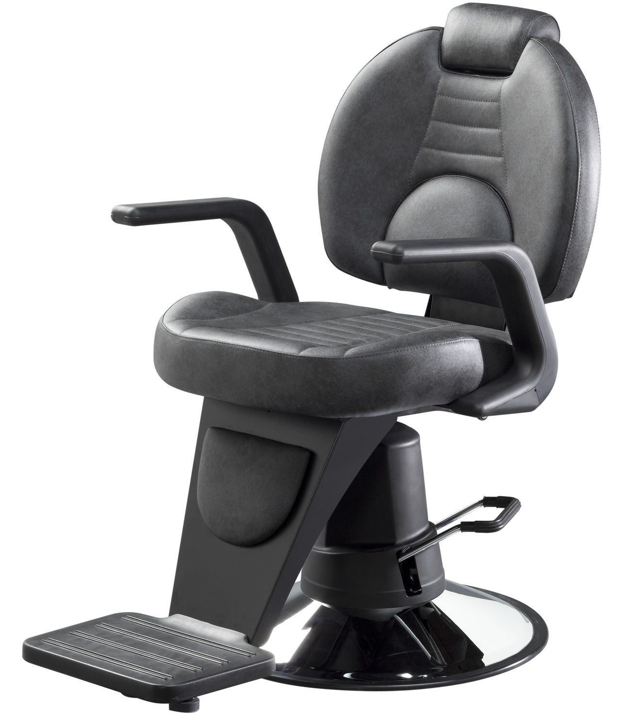 Chromed Metal Barber Chair / Synthetic Leather / With Footrest / With  Headrest   DUCA