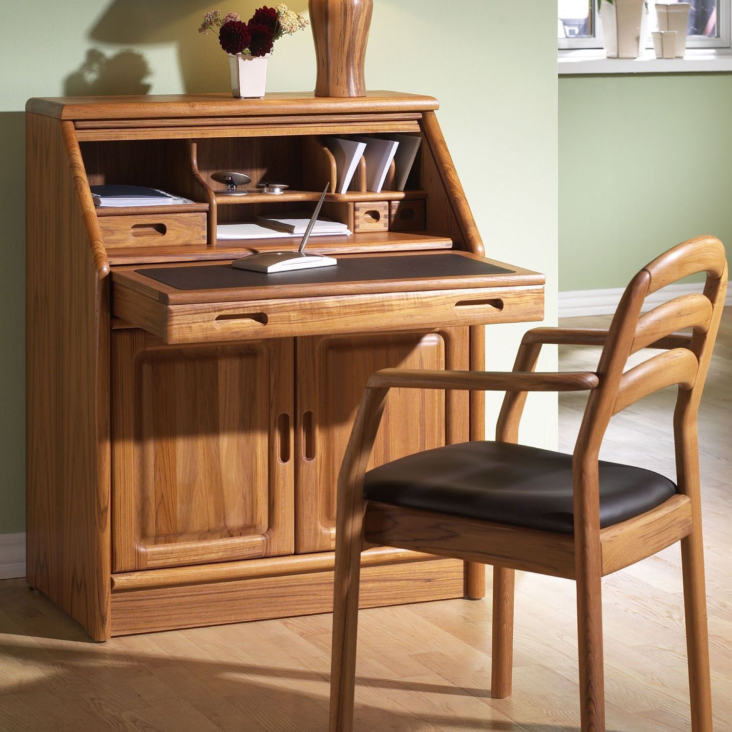 Contemporary Secretary Desk Wooden 1152m Dyrlund Videos # Muebles Secreter
