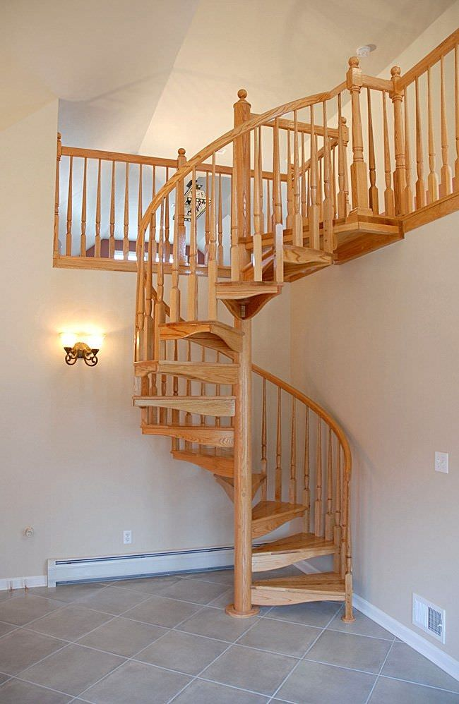 Superb Spiral Staircase / Wooden Frame / Wooden Steps / Without Risers   W 1I