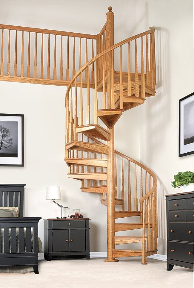 Spiral Staircase / Wooden Frame / Wooden Steps / Without Risers   W 1B