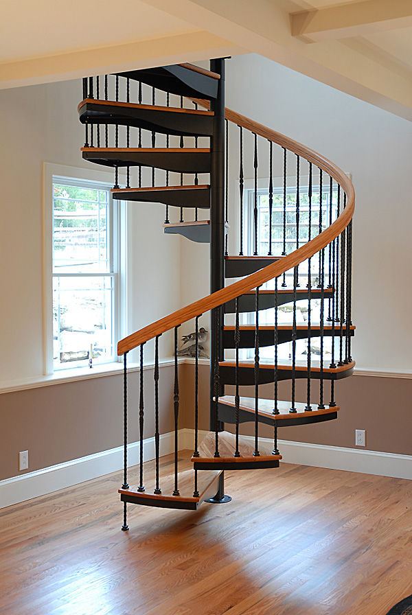 Spiral Staircase / Metal Frame / Wooden Steps / Without Risers ...
