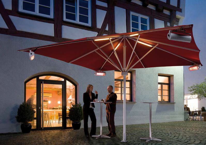 Commercial Patio Umbrella Canvas Aluminum With Heater Albatros