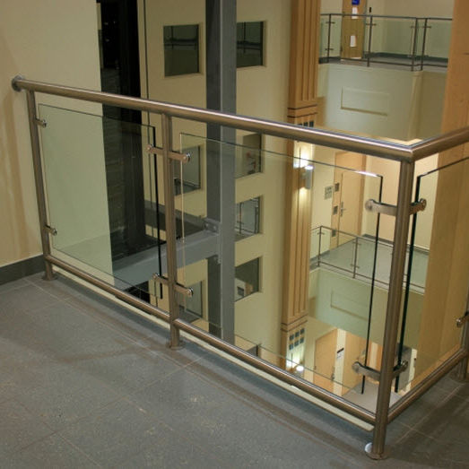 Stainless steel railing / glass panel / indoor / for balconies ...