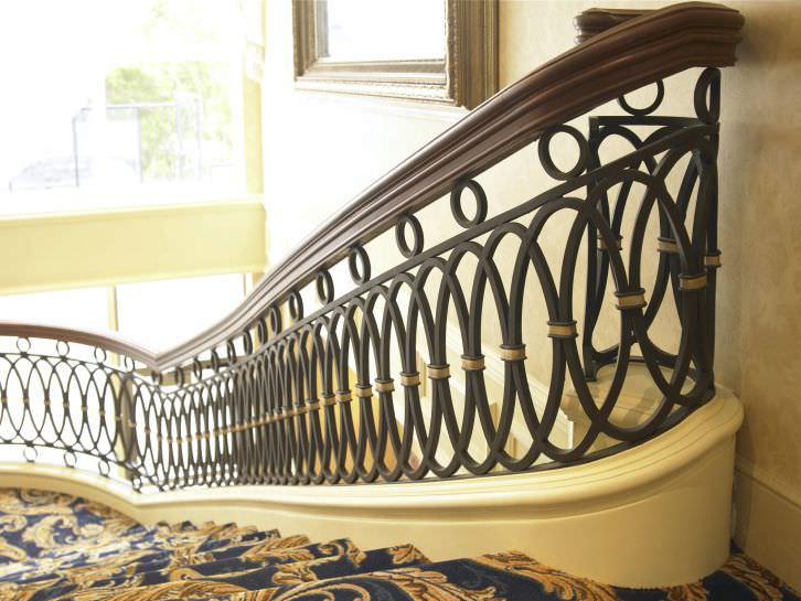 wrought iron railing with bars indoor for stairs oval by jacques bouchard