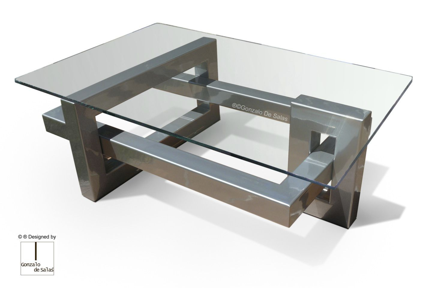 Contemporary Coffee Table Crystal Iron Lacquered Metal Ios