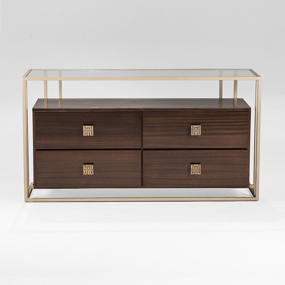 Contemporary Chest Of Drawers Wooden Metal Glass Bolero 100
