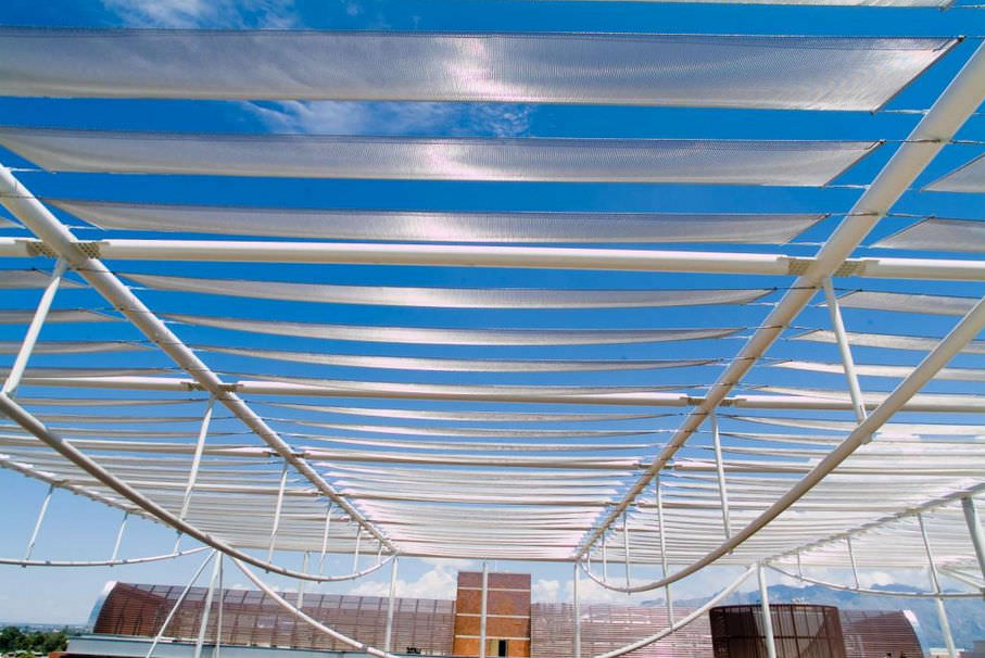 Wire mesh solar shading / stainless steel / for roofs / horizontal ...