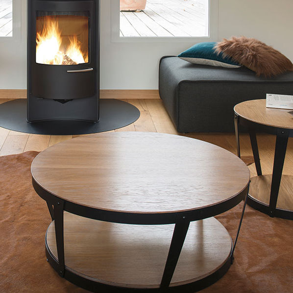 Contemporary Coffee Table Oak Metal Round Nude 41578 Motard