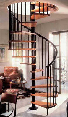 Spiral Staircase / Wooden Steps / Metal Frame / Without Risers. GAMIA Stair  Plan