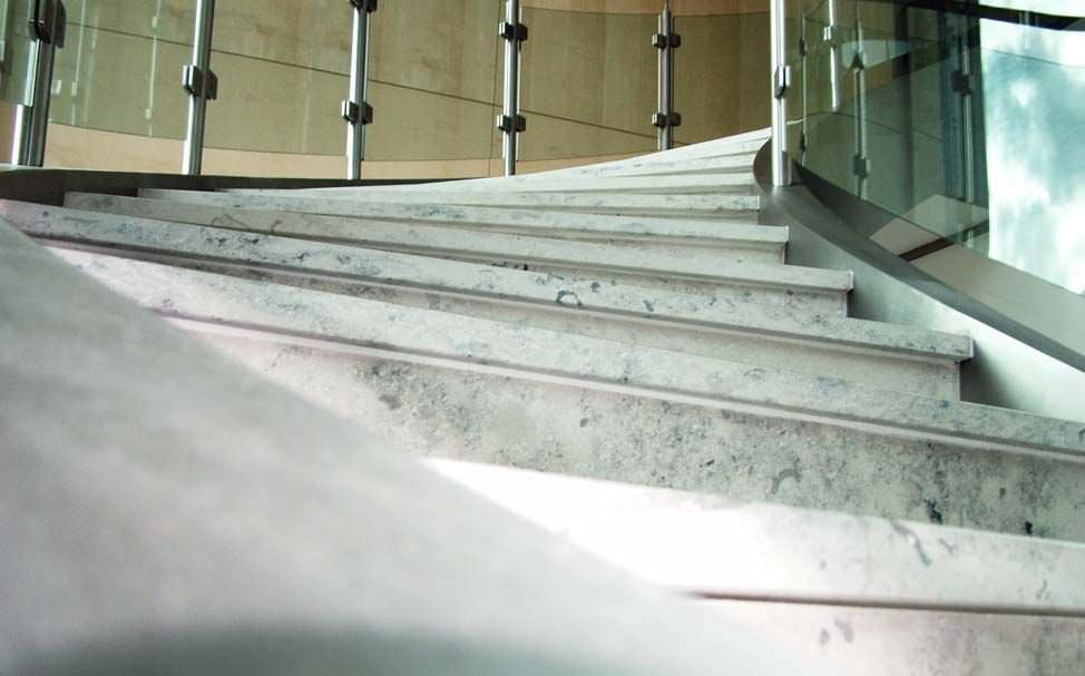 helical staircase stone steps metal frame with risers argus by butterworth associates canal