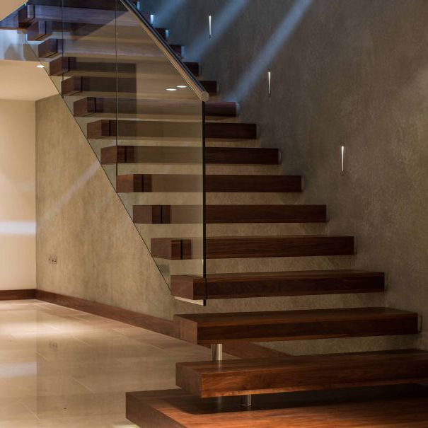 Straight Staircase Stainless Steel Frame Wooden Steps Without Risers Warrick Interior