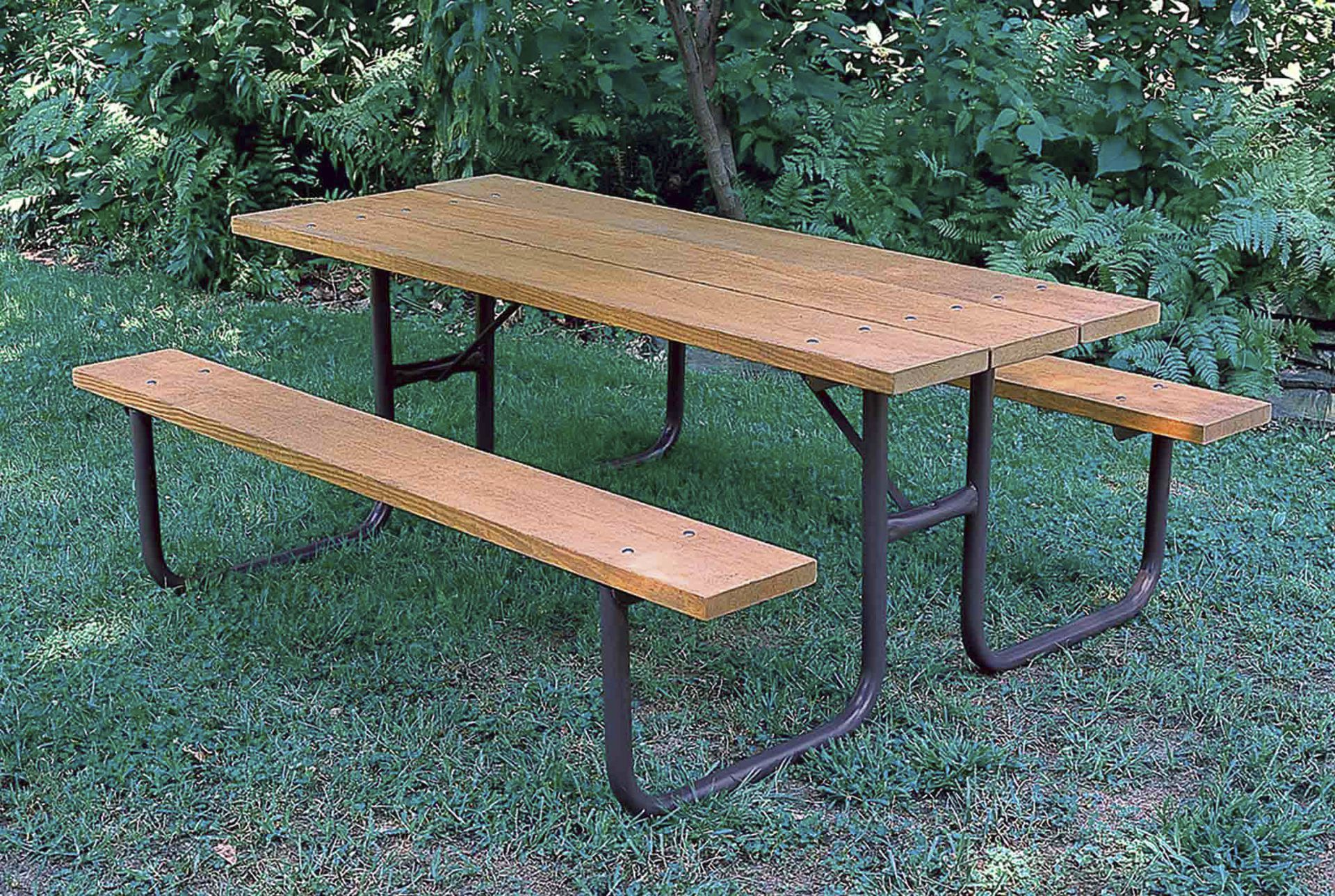 Contemporary Picnic Table Wooden Aluminum Plastic DuMor - Plastic bench that turns into a picnic table