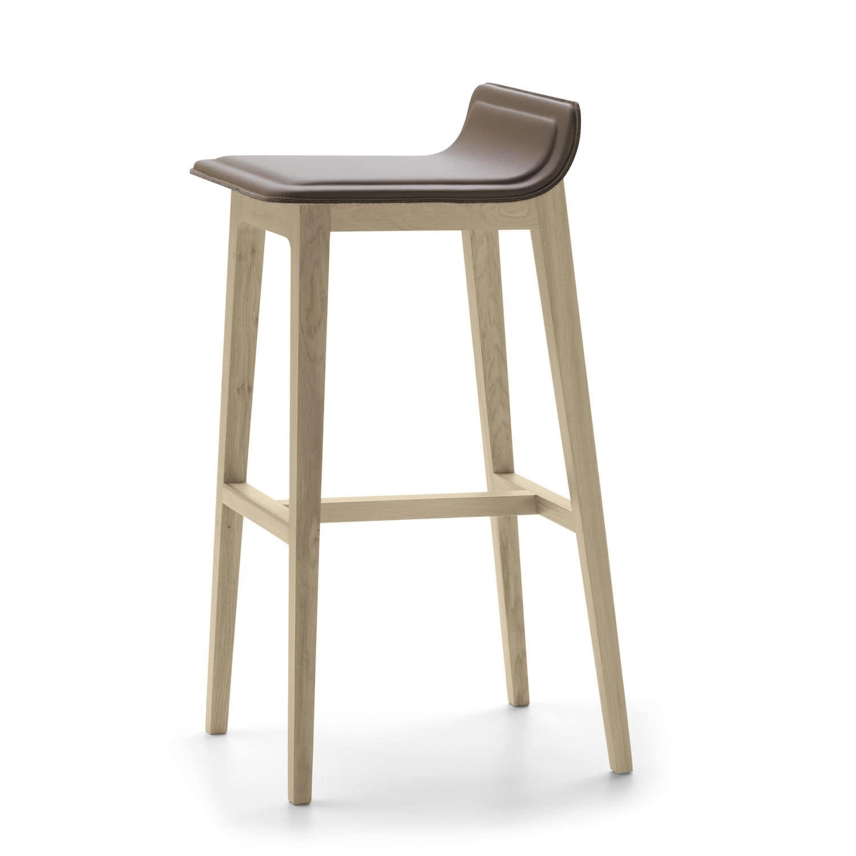 contemporary bar stool  oak  leather  fabric  laia by jean  - contemporary bar stool  oak  leather  fabric  laia by jeanlouisiratzoki
