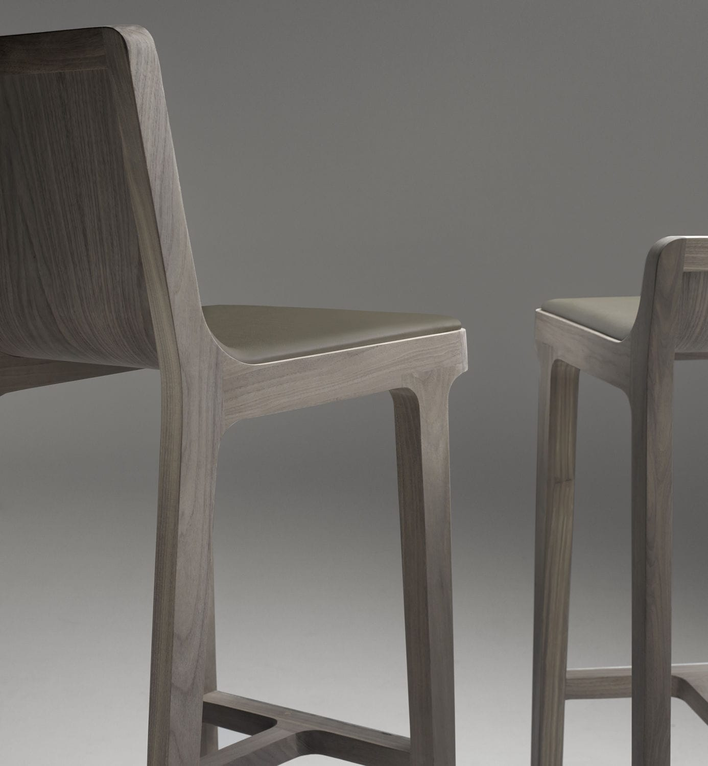 Contemporary Bar Stool Oak Leather Fabric