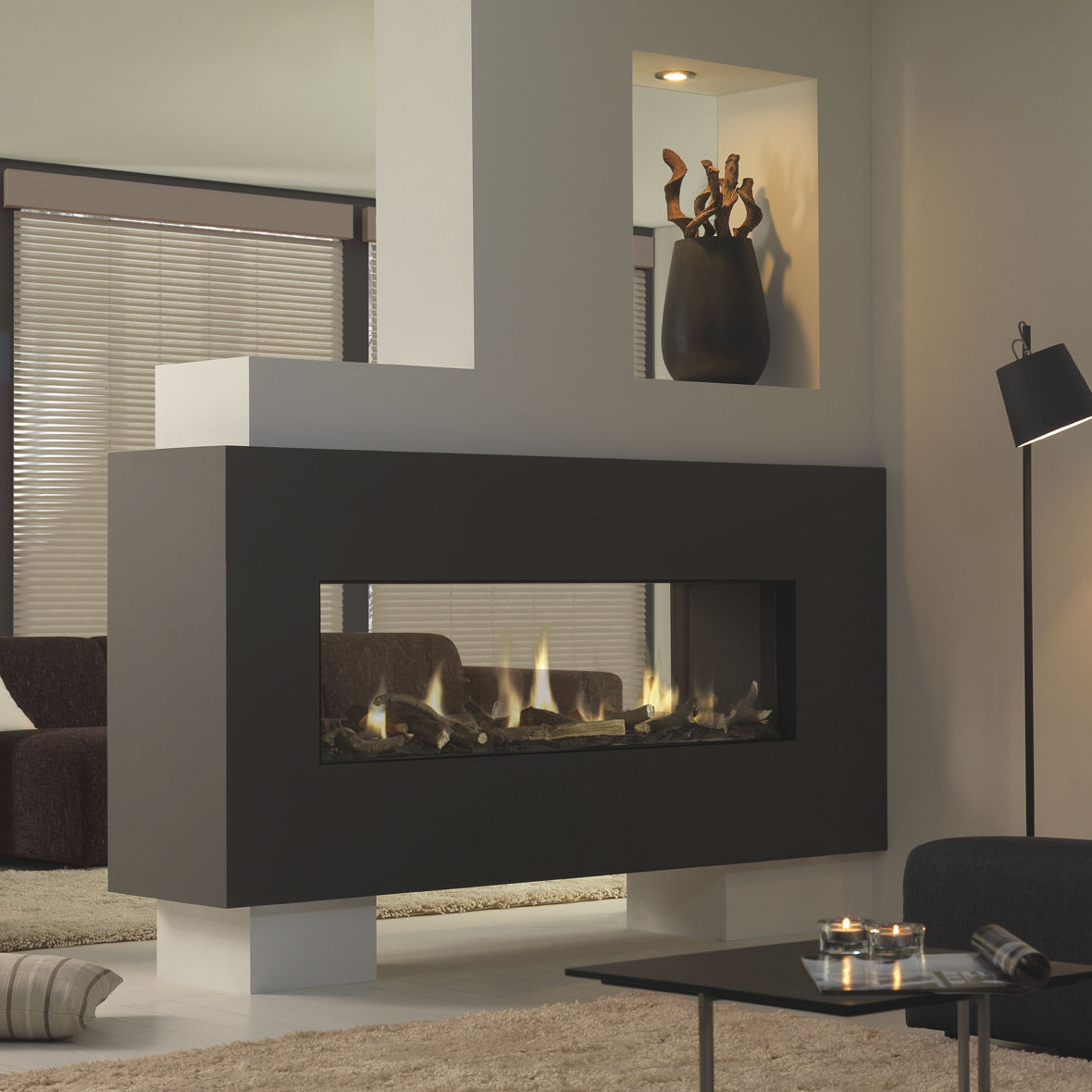mirror hearth black sided bell large screen with ceramic home interior tag hd fireplaces calgary insert corner in bellfires fireplace gas double