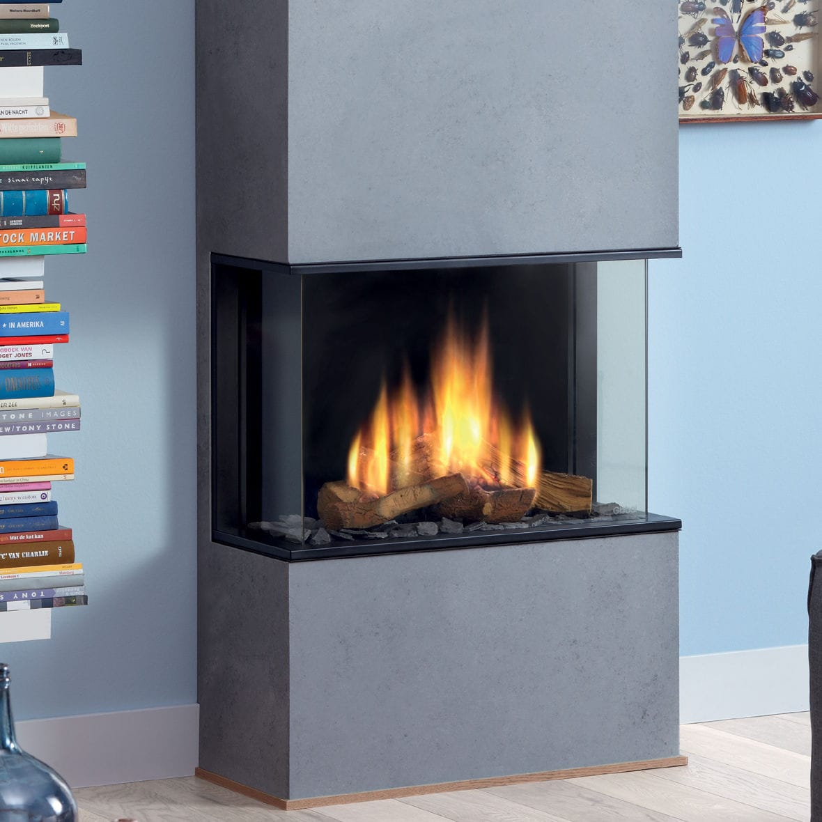 fireplace trs heat gas with sided black corner trim product glo