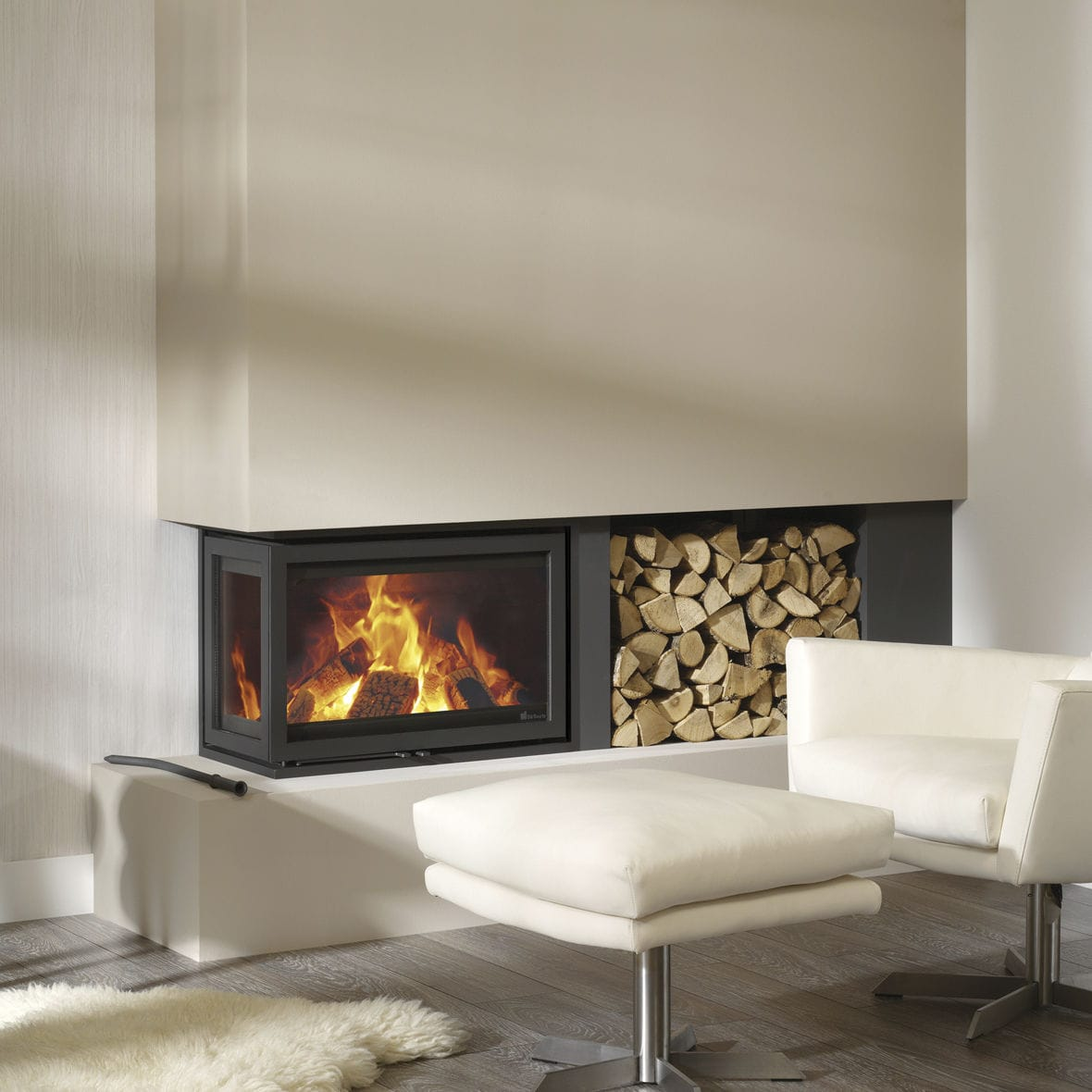 Wood-burning fireplace insert / corner - INSTYLE CORNER LOW by Dik ...