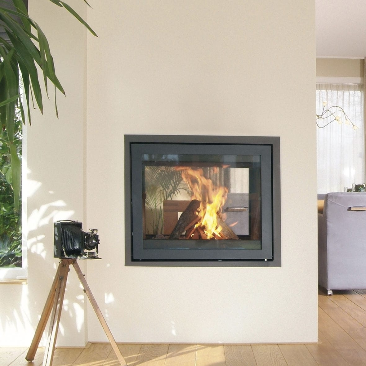 wood burning fireplace contemporary closed hearth double
