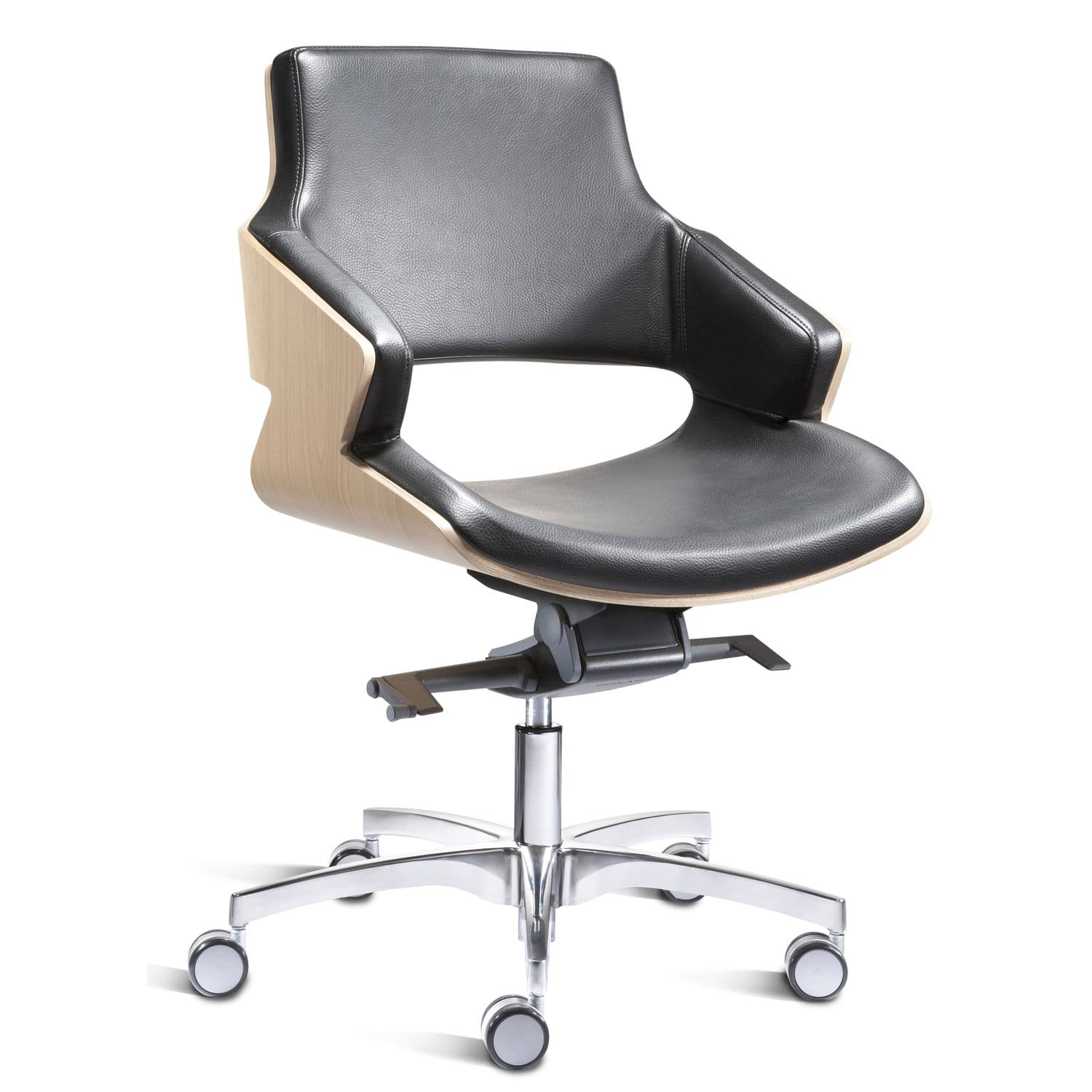 Contemporary office chair with armrests upholstered on