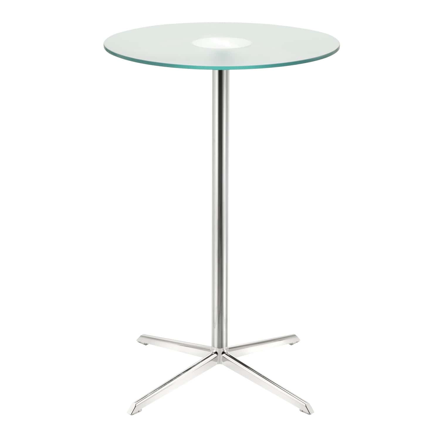 Contemporary high bar table walnut frosted glass aluminum