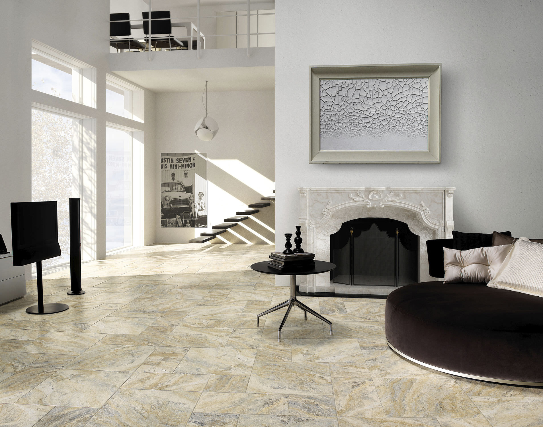 Living room tile / floor / porcelain stoneware / polished - DARWIN ...