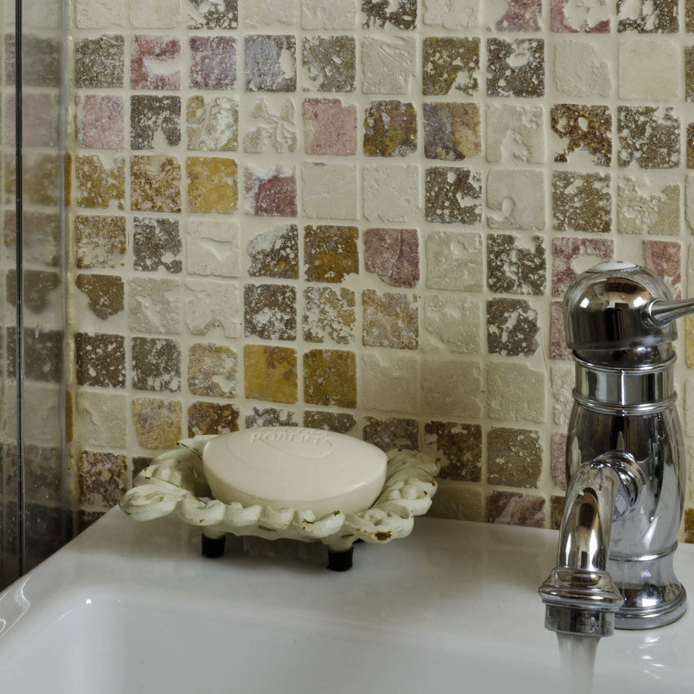 Bathroom Mosaic Tile Wall Natural Stone Plain X CORAL MIX - 3x3 ceramic wall tile