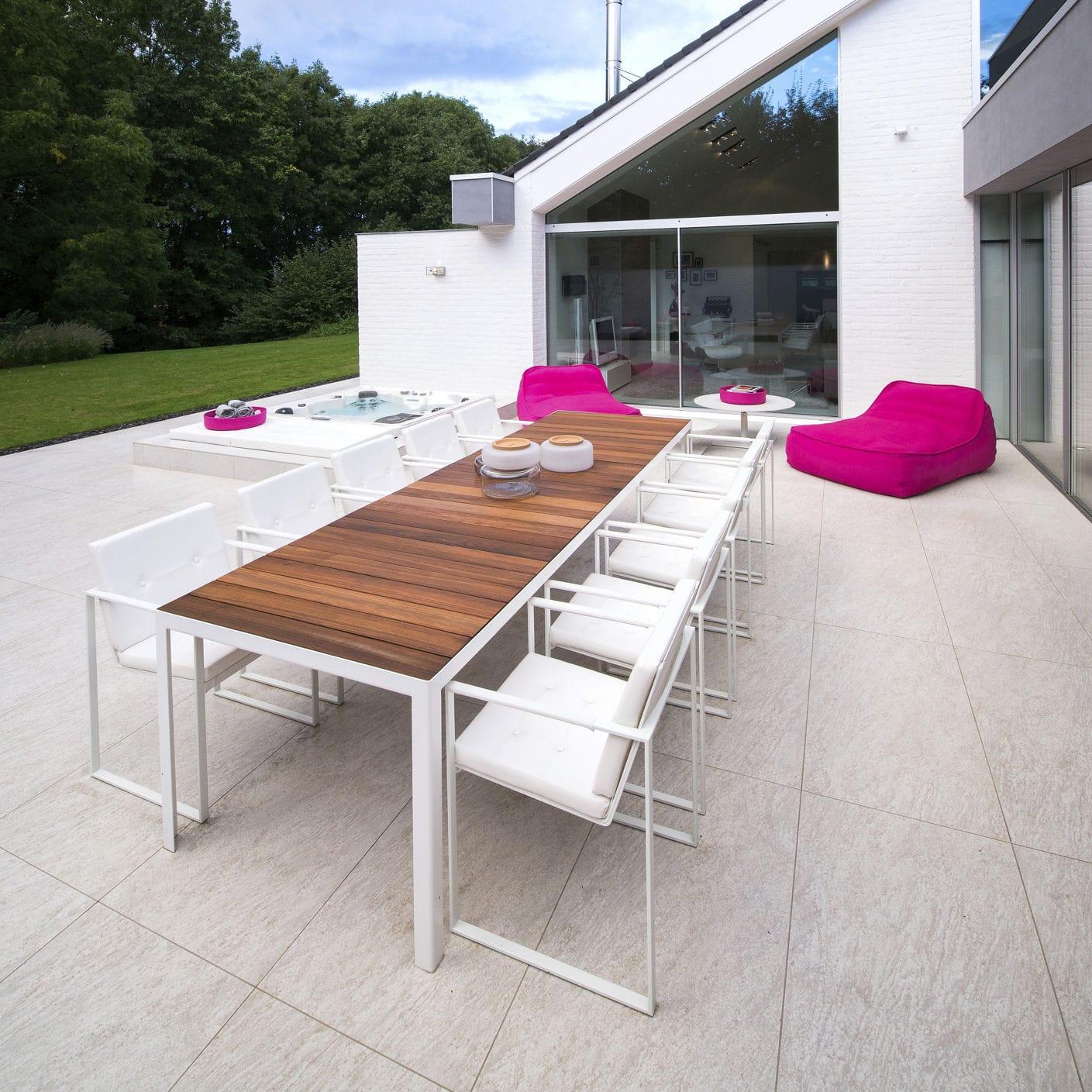 Garden Table Contemporary Teak Tempered Glass Nimio 200 260