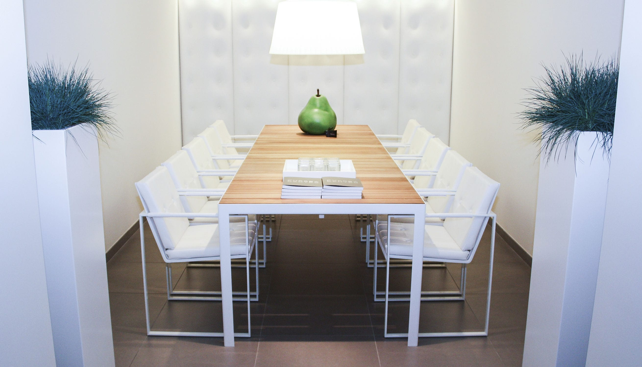 ... Contemporary Dining Table / Teak / Brushed Metal / Chrome Steel ...