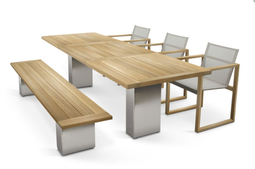 Contemporary Dining Table Teak Polished Metal Brushed - Teak and metal outdoor table
