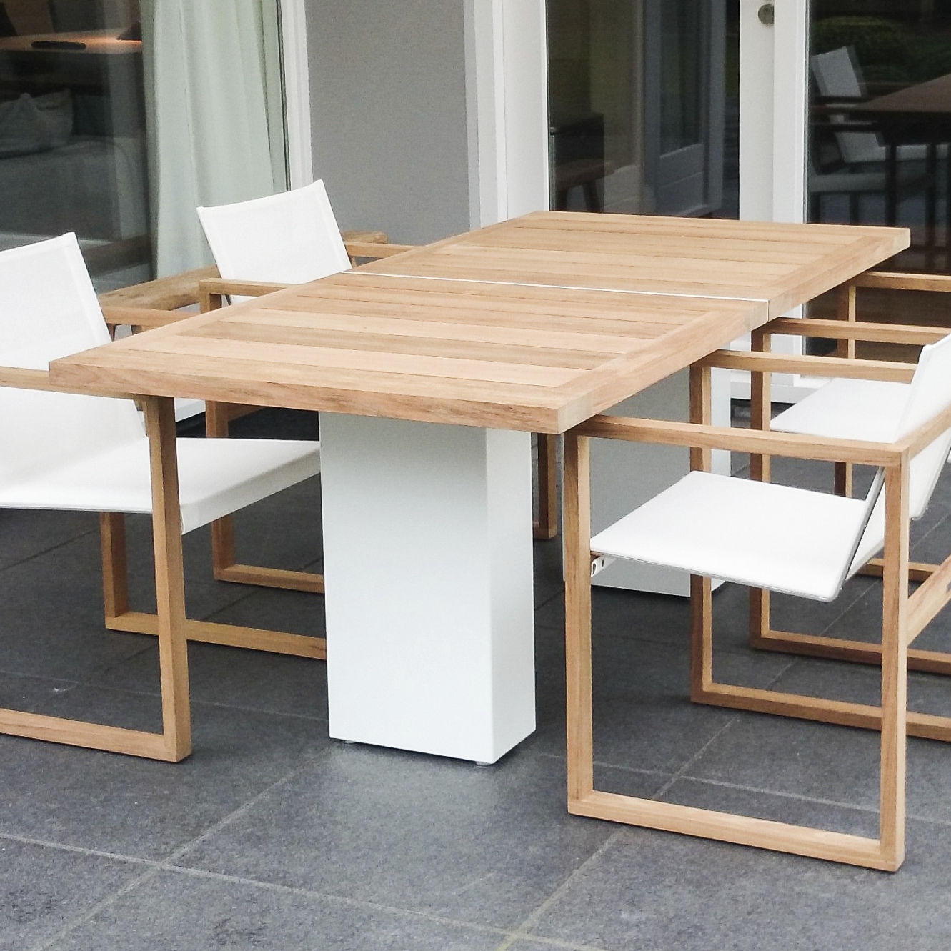 Contemporary dining table teak polished metal brushed