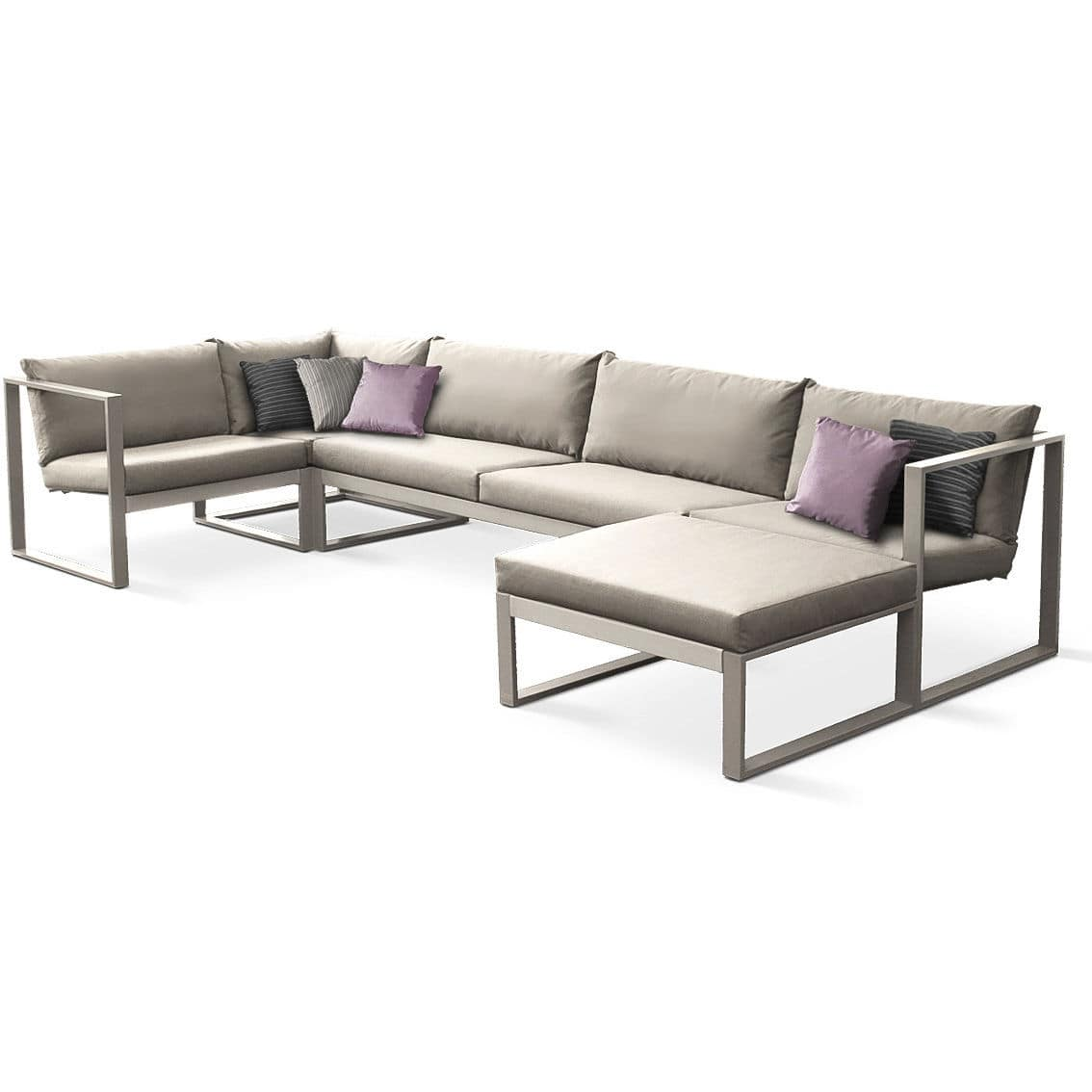 contemporary bench and table set / steel / garden / outdoor - cima, Garten und Bauen