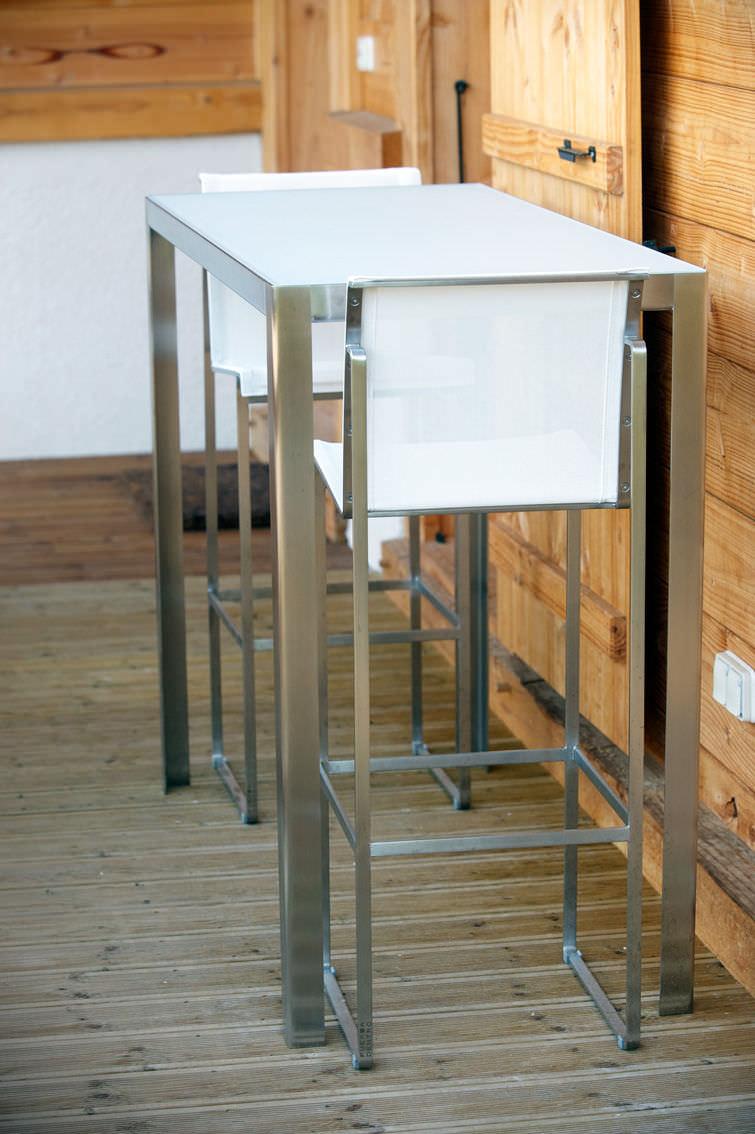 Contemporary High Bar Table Gl Metal Stone